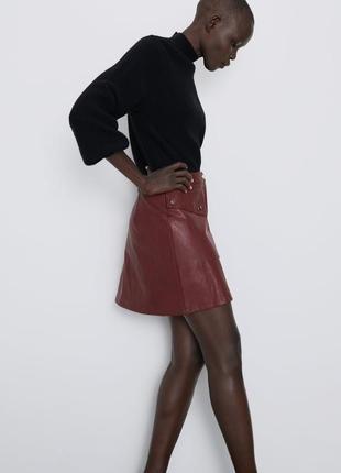 Новая кожаная юбка zara3 фото