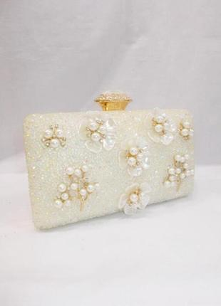 Вечірній белый вечерний свадебный весільний клатч с цветами сумка невесты нареченої
