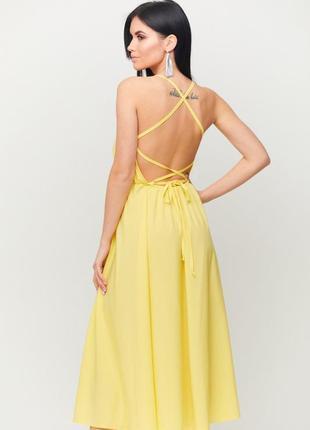 Желтое платье с открытой спинкой karree миди