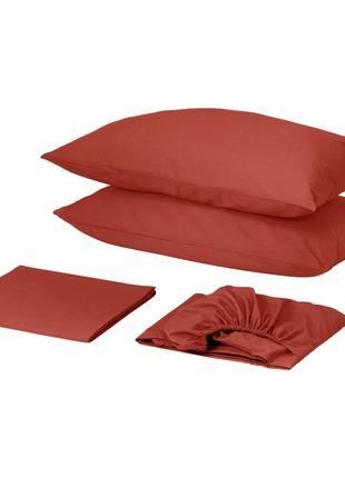 Комплект постельного белья с простынью на резинке сатин премиум винный