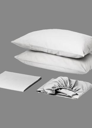 Комплект постельного белья с простынью на резинке сатин премиум белый