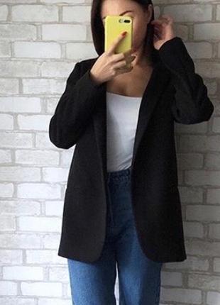 Пиджак бойфренд чёрный1 фото