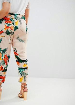 Летние брюки тропический принт/штаны палаццо