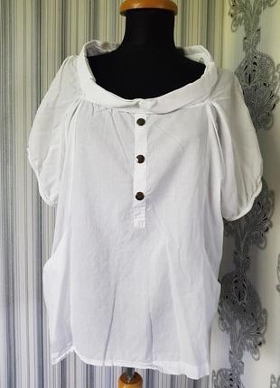 Брендовая белая блуза футболка х/б интересный воротник