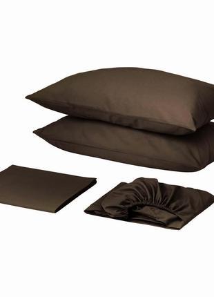 Комплект постельного белья с простынью на резинке сатин премиум коричневый