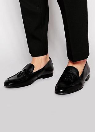 Черные кожаные лоферы с кисточками asos