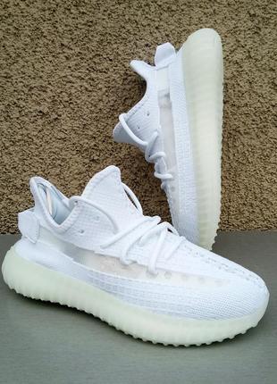Adidas yeezy boost 350 white кроссовки женские белые весна лето