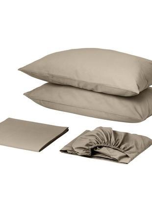 Комплект постельного белья с простынью на резинке сатин премиум порох