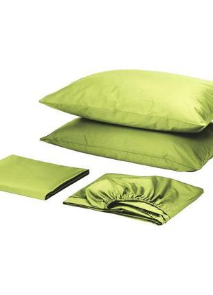 Комплект постельного белья с простынью на резинке сатин премиум салатовый