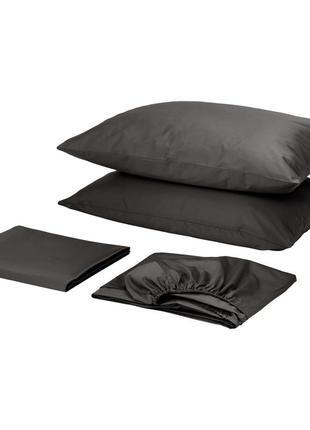 Комплект постельного белья с простынью на резинке сатин премиум черный