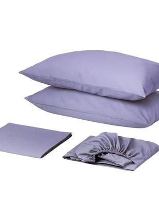 Комплект постельного белья с простынью на резинке сатин премиум сирень