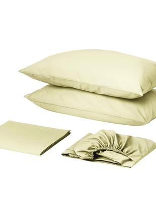 Комплект постельного белья с простынью на резинке сатин премиум шампань