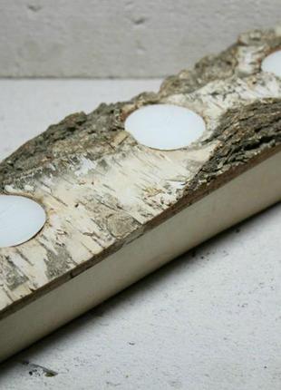 Березовый подсвечник для круглой свечи (27х8х5 см)