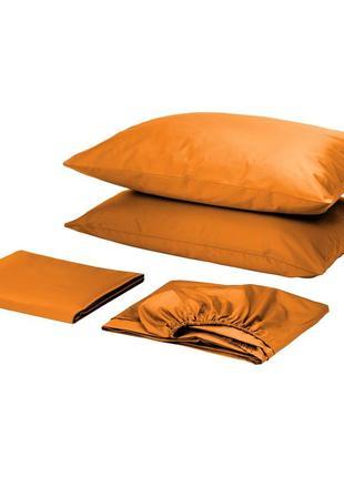 Комплект постельного белья с простынью на резинке сатин премиум оранжевый