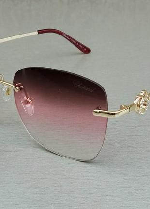 Chopard очки женские безоправные солнцезащитные бордово красные
