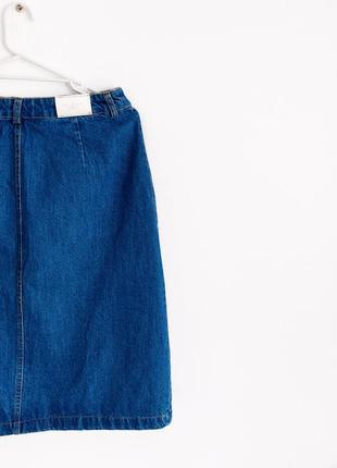 Джинсовая миди юбка трапеция высокая посадка4 фото