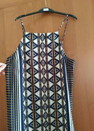 Длинное платье/сарафан на бретелях с разрезами по бокам в геометрический принт topshop