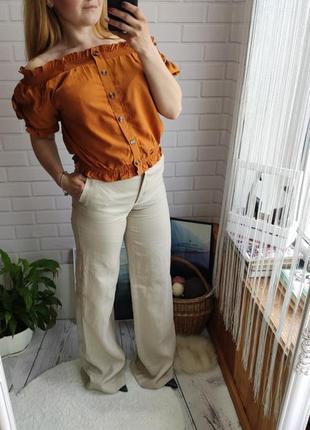 Трендовые песочные брюки палаццо на высокой посадке от mango