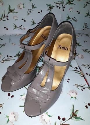 🌿1+1=3 стильные серые женские туфли на каблуке faith connexion в стиле 80-х, размер 38