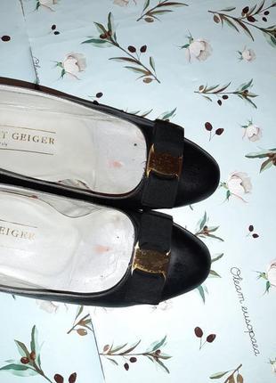 🌿1+1=3 фирменные кожаные черные туфли балетки (натуральная кожа), размер 372 фото