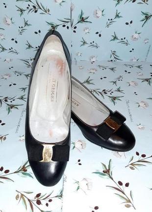 🌿1+1=3 фирменные кожаные черные туфли балетки (натуральная кожа), размер 376 фото