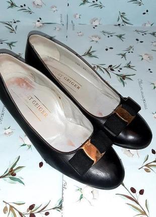 🌿1+1=3 фирменные кожаные черные туфли балетки (натуральная кожа), размер 378 фото