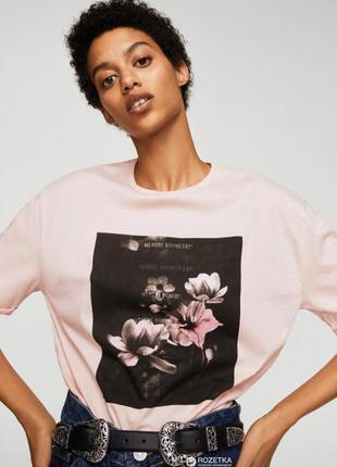 Mango новая футболка розовая с цветочным принтом надписью стильная oversize оверсайз