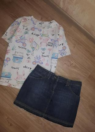 Джинсовая юбка + футболка комплект на лето2 фото