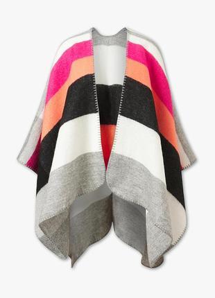 Пончо накидка большая универсальная подарок полоску полосатая теплая яркая
