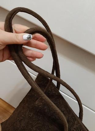 Замшевая большая сумка, коричневая, италия7 фото