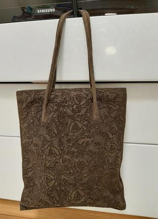 Замшевая большая сумка, коричневая, италия5 фото