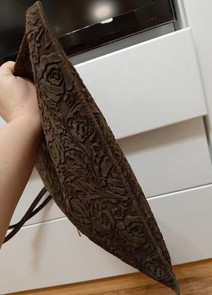 Замшевая большая сумка, коричневая, италия9 фото