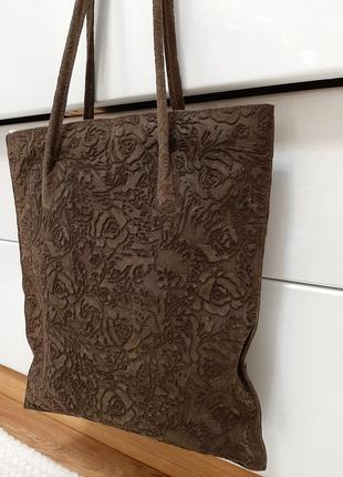 Замшевая большая сумка, коричневая, италия3 фото