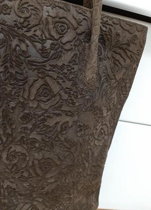 Замшевая большая сумка, коричневая, италия4 фото