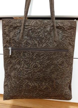 Замшевая большая сумка, коричневая, италия6 фото
