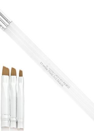 Набор кистей 3шт с прозрачными ручками для геля, гель лака и росписи ногтей