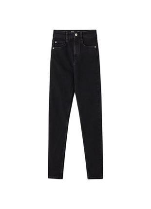 Джинсы черные pull bear штаны скинни средняя посадка skinny1 фото