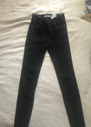 Джинсы черные pull bear штаны скинни средняя посадка skinny4 фото