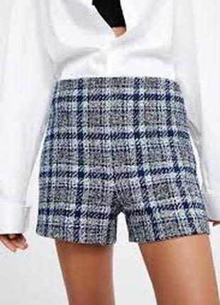 Zara новые шорты короткие с высокой посадкой в клетку твидовые синие с белым
