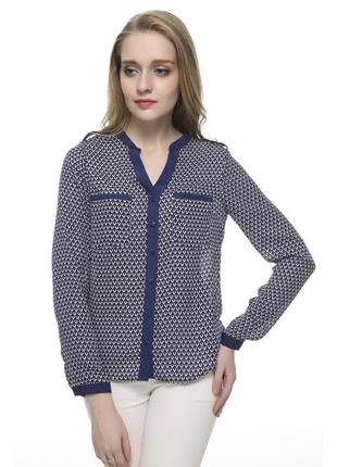 Zara блузка рубашка легкая летняя синяя с рисунком принтом орнаментом
