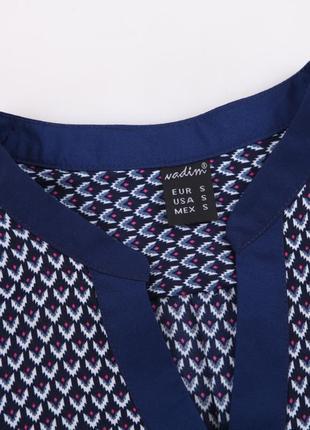 Zara блузка рубашка легкая летняя синяя с рисунком принтом орнаментом4 фото