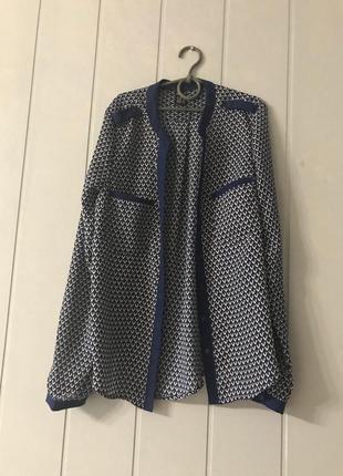 Zara блузка рубашка легкая летняя синяя с рисунком принтом орнаментом3 фото