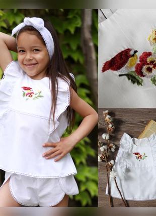Белая блузка для девочки, блузка школьная с птичками, біла блуза шкільна птах
