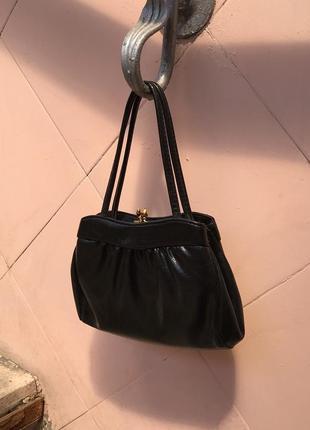 Elbief england винтажная лаковая сумка ридикюль, кожа винтаж