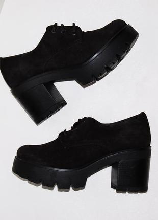 Туфли кожа замш испания на платформе 37.5-38 р 24 см