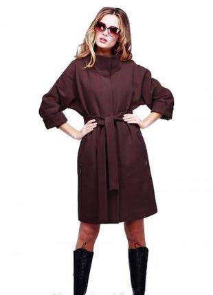 Новое шоколадное кашемировое пальто