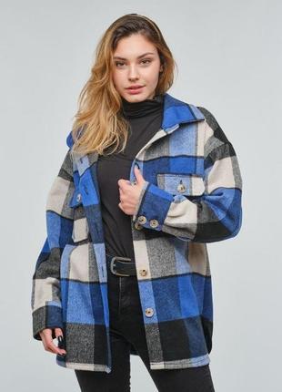 Женская теплая куртка - рубашка в крупную  клетку на пуговицах.  размеры 44 46 48 50 52