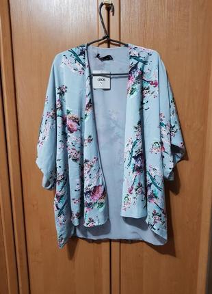 Накидка, красивая своеобразная мятная накидка с цветами, блузка, летняя кофта оверсайз1 фото