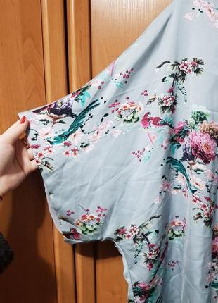 Накидка, красивая своеобразная мятная накидка с цветами, блузка, летняя кофта оверсайз6 фото