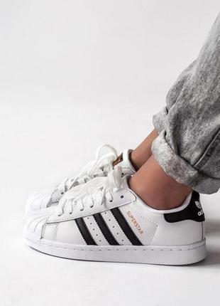 Adidas superstar white белые с чёрным женские кроссовки наложенный платёж купить